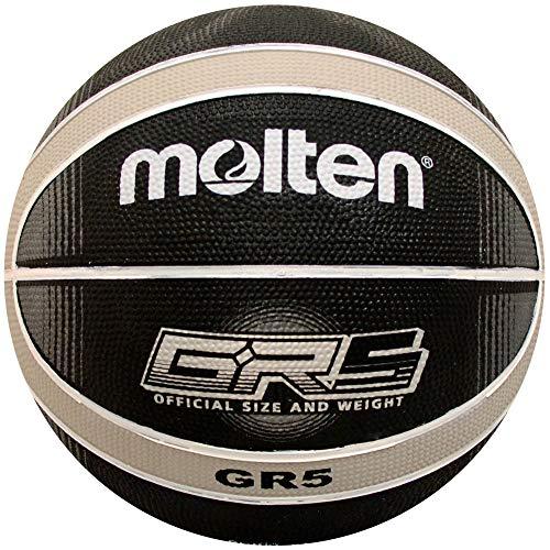 Molten Premium 12 Panel Design Rubber Basketball, Black/Silver, Junior Size 5'