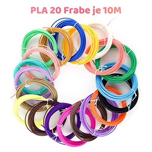 3D Stift 3D Stift Filament Geschenkkarton 20 Farben 3d Druck 1.75mm Filament PLA mit Verschiedene Farben für 3D Drucker Stift je 10M, insgesamt 200M, Kompatibel mit allen gängigen 3D Druckstift