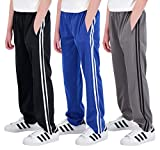 Real Essentials 3 Pack: Boys Active Tricot Sweatpants Track Pant Basketball Athletic Fashion Teen Sweat Pants Soccer Casual Girls Lounge Open Bottom Fleece Tiro Activewear Training -Set 2,M (10-12)