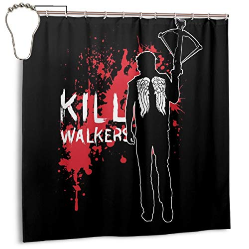 GSEGSEG Wasserdichter Polyester-Stoff Duschvorhang The Walking Dead Daryl Armbrust Druck dekorativer Badezimmer-Vorhang mit Haken, 182,9 cm x 182,9 cm