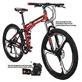 Eurobike G4 Folding Bike 21 Speed 26 Inches 3 Spoke Wheel Dual Suspension Folding Mountain Bike Red