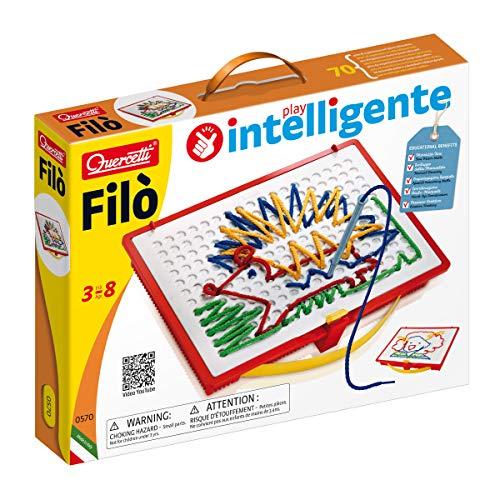 Quercetti 0570 Fädelspiel Filo 0570-Fädel Spiel, inklusive Vorlagenbuch, Fadelschnüren und Aufbewahrungsbox, bunt