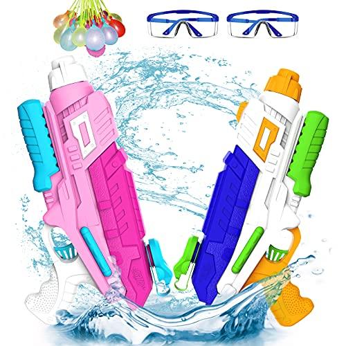 ABREE Pistolas de Agua para Niños Adultos 2pcs de Rango 600ml Chorro Juguete Piscina Playa Juguetes de Verano para Piscina Playa Fiesta de Alcance Largo 11m