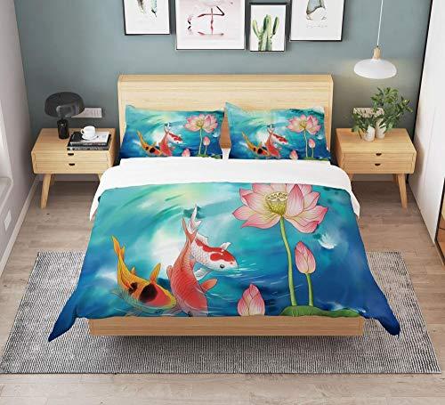 KIrSv Impresión 3D Koi Carp King Bed Ropa de Cama Textiles para el hogar,Funda nórdica y Funda de Almohada para Cama Doble para niños y niñasapartamento,Habitación Hotel-Sandw 140 * 210cm(2pcs) _1
