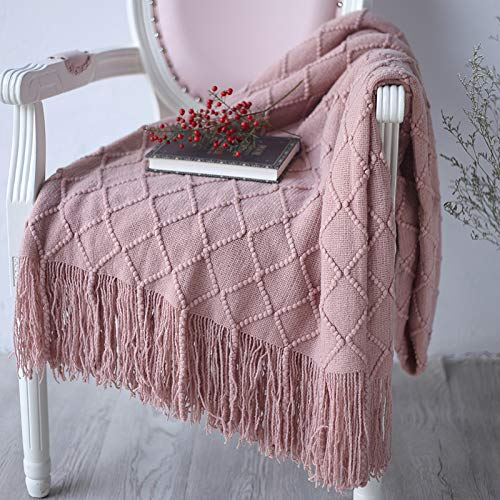 Yun Meng Manta de Punto Cama y sofá, Manta de Cachemir de imitación de Calidad (Coral Rosa)