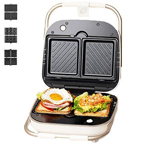 WXLSQ Sandwichera 3-En-1 Mini Wafflera Revestimiento Antiadherente Panini Press Fácil De Limpiar Multifunción Tostadora Pancake Fabricante De 900W (3 Pares) Bandeja De Horno Blanco
