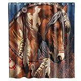 N\A Tribal Spirit Indian War Horse Cortina de Ducha Tela Tela Niños Baño Decoración Set con Ganchos Impermeable Lavable
