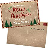 50 Christmas Postards: Happy Holiday and Happy New Year Cards - Bulk Postcards Set with Season's Greetings Message - Kraft Thank You Notes for Business, Office, Kids and more