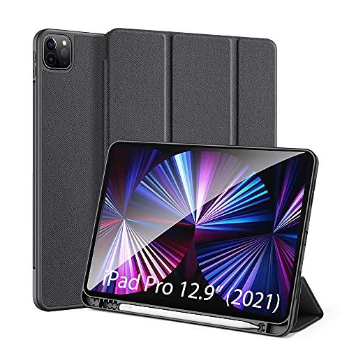 DUX DUCIS Custodia Cover per iPad PRO 12.9 2021, iPad PRO 12.9 inch [Support Apple Pencil Charging] Case in TPU con Slot per Penna, Cover Tri-Fold Avvio/Arresto Auto, Nero