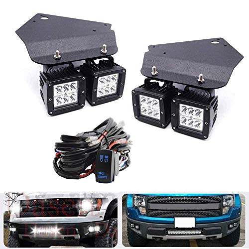 Dasen 4 Pcs 18W LED Fog Driving Lights Off-Road & Front Bumper Foglamp Replacement Cube Light Mount Brackets w/Wiring Kit Compatible with 2010-2014 Ford F150 SVT Raptor