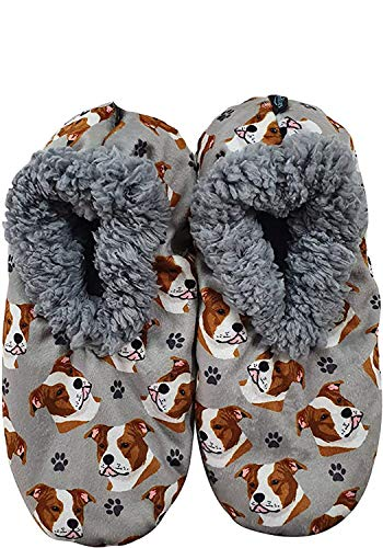 Comfies Womens Pit Bull Dog Slippers - Sherpa Lined Animal Print Booties