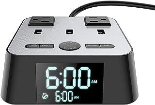 目覚まし時計 USBコンセント デジタル時計「一台三役」電源タップ(USBポート3つとACコンセント2つ 1.5Mコード スイッチ付き)アラーム(LED4段階調光)日本語取扱説明書 メーカー1年保証
