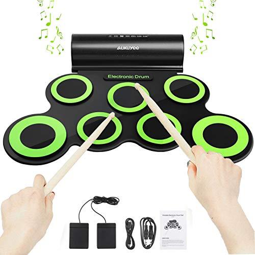 AUKUYEE Tambor Portátil Conjunto de Batería Electrónica USB Roll-Up Juego de Pastillas 7 Almohadillas de Silicona Altavoces Incorporados con los Palillos Pedales, Compatible con Roland Games