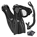 Promate Spectrum Snorkeling Fins Mask Snorkel Set, Black, SM