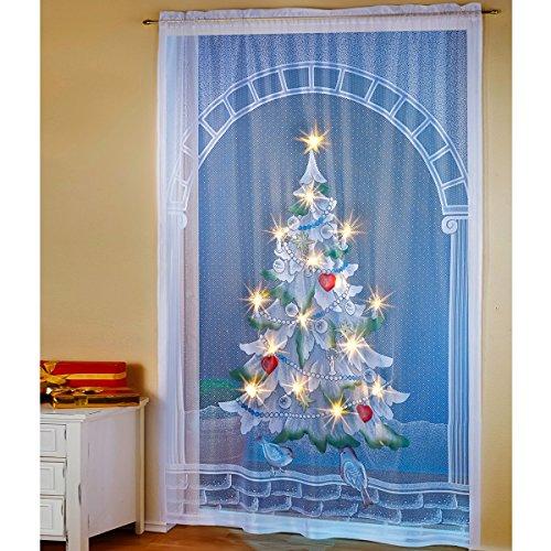 vivaDOMO LED-Vorhang Christbaum, Weihnachtsbeleuchtung, Weihnachtsdeko, Balkontüre, Terrassentüre, Winterdeko, Weihnachtsbaum, Polyester, 150 x 220 cm