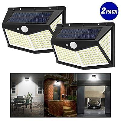 JKZJ FL1-212 LEDs Solar Lights Outdoor with 3 Modes, Wireless & Waterproof Solar Motion Sensor Wall Lights Patio Lights Garden Lights(2-Pack)