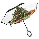 Ombrello pieghevole natalizio Decorazione tradizionale Icone Rami di bacche di agrifoglio con Effetto Effetto Bokeh Neve,