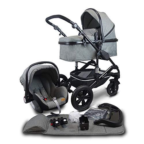 Pixini California MEGASET 3 en 1 - Bolsa para mamá, color gris oscuro