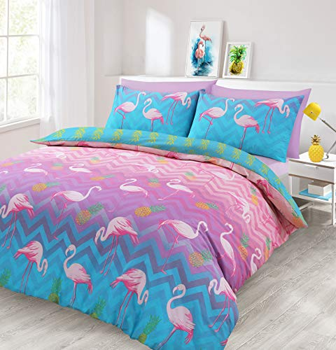 Velosso Flamingo Pink Duvet Cover and Pillowcase(s) Bedding Set (King)