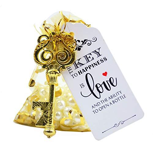 Makhry 50pcs Owl Shaped Vintage Key Bottle Opener Wedding Favors Souvenir Gift Set Thank You Tags Drawstring Sheer Bags (Gold)