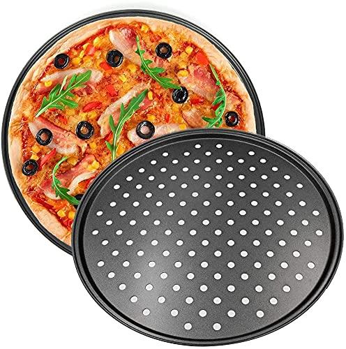 Platos Redondos Para Pizza, Bandeja Para Pizza, Platos Para Pizza Con Revestimiento Antiadherente, Platos Para Pizza Perforados Para Horno, Bandeja Para Verduras Crujientes, 2 Piezas-24.5