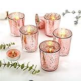 Supreme Lights Glas Teelichthalter 12er Set, 5.2x6.6cm, Gefleckter Teelichtgläser Geschenk Kerzenhalter Deko für Geburtstag, Party, Hochzeit, Feier, Haushalt, Gastronomie (Rosegold) - 2