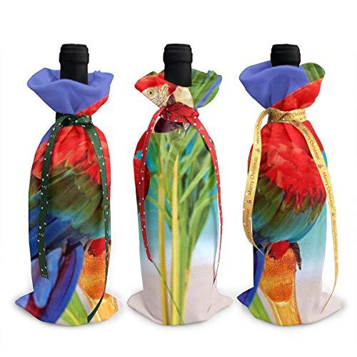 3 fundas para botella de vino, decoración de loro tropical, para decoración de mesa, para fiestas de Navidad, cena, regalo
