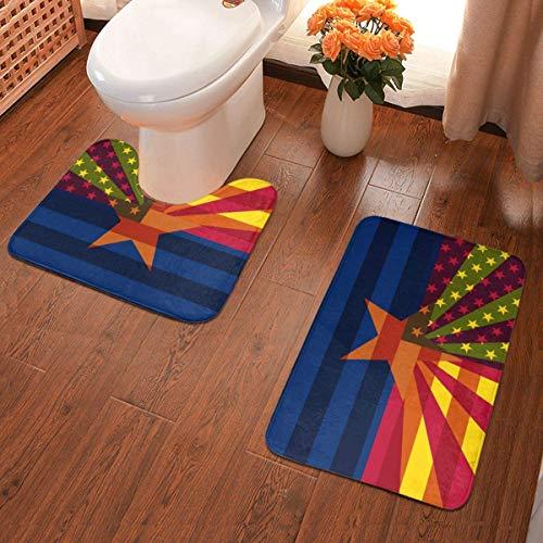 Lindsay Gosse Badematten-Set 2-teiliges Teppich-Set USA Arizona State Flag Mix U-förmiger konturierter Toilette und...