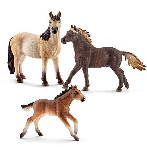 Schleich mF-05 Pferde - Mustang Familie (3-tlg) 13805 Hengst, 13806 Stute, 13...