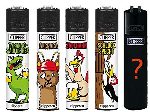 Clipper Original Lighter Flints 4 Set + 1 Überraschungsclipper Feuerzeug All u Need Schlüsselanhänger Flaschenöffner (Bier #2)