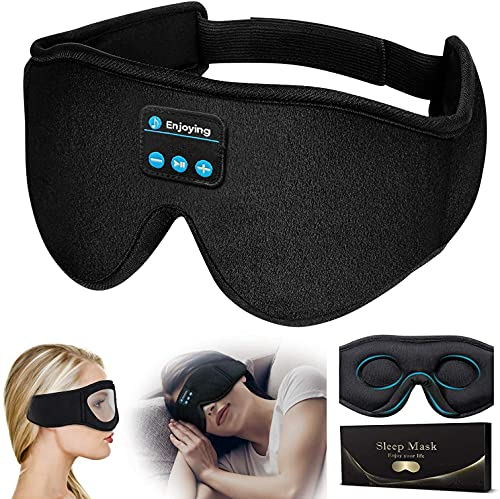 Máscara de sueño Bluetooth, nueva máscara de sueño contorneada 3D actualizada para hombres y mujeres, máscara de ojos de música inalámbrica 100% opaca