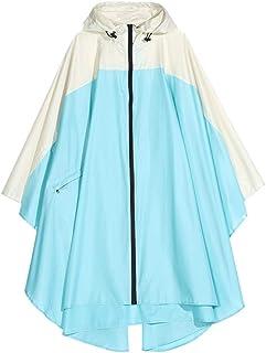 WZHZJ Women's Rain Poncho Coat Waterproof Raincoat Cape with Hood and Zipper for Hiking Touring Bicycling