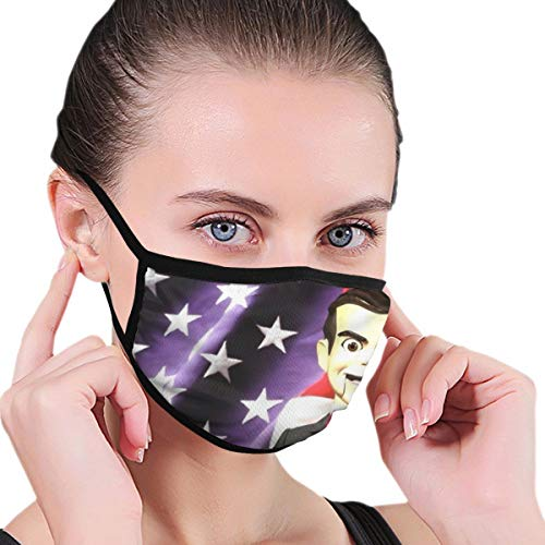 PX SHOPPING STREET Skin-Friendly Soft Face Masks for Unisex Adult, Slappy The Dummy Goosebumps Vintage American Flag Mouth Mask for Sun Protection, Novelty Warm Masks for Fishing Winter Cold