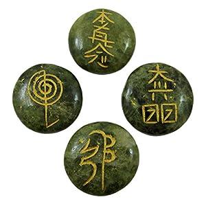 Set of 4 Serpentine Stone Chakra Symbol Spiritual Gift Reiki Healing Stones
