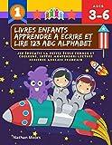Livres enfants apprendre a ecrire et lire 123 ABC alphabet. Jeu éducatif la petite école formes et couleurs. Lettre Montessori lecture ecriture ... mains école maternelle materiel en jouant.