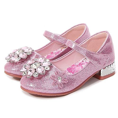 AIYIMEI Zapatos de la Princesa Elsa Niñas Zapato de Disfraz Elsa de Princesa Sandalias con Velcro Zapatos de Fiesta Halloween Cosplay Danza Boda Carnaval Cumpleaños Regalo EU23-36