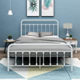 HOMERECOMMEND Metal Bed Frame Twin Size White Platform Headboard Footboard NO Box Spring Raplacement Matter Foundation Heavy Duty