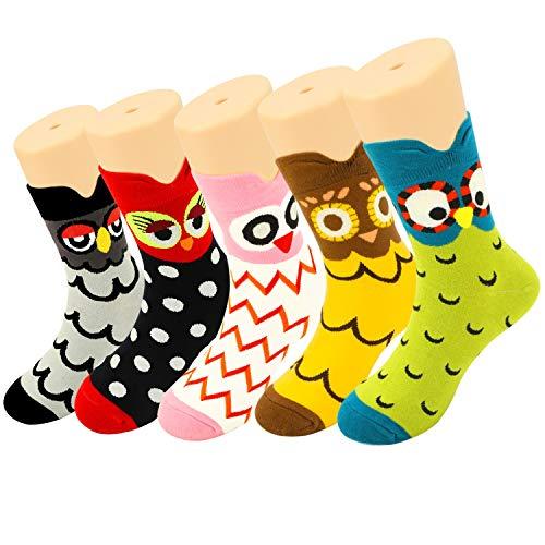 HOWAF 5 Pares Linda Animales Algodón Calcetines para Mujeres Niñas, Novedad Búho Modelo Calcetines Gracioso Calcetines Pack para Mujeres Damas Niñas Invierno Navidad Cumpleaños Año Nuevo Regalo