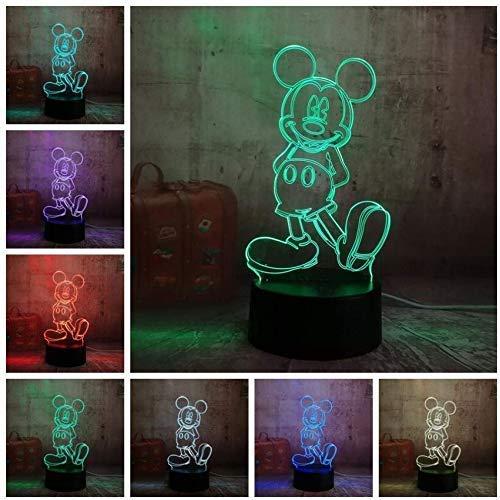 3D Illusion Lampe Cartoon Nette Mickey Mouse Led Nachtlicht IllusionTisch Schreibtischlampe Geburtstag Weihnachtsgeschenk für Kind Kinder Wohnkultur