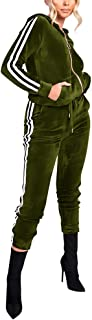 Women's Hoodie Sweatsuit Zip Up Jogging Long Sleeve Velour Striped Tracksuit Set with Pocket