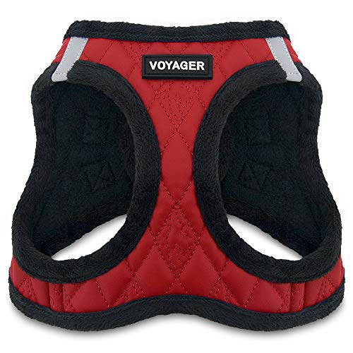 "Voyager Step-in Plush Dog Harness - Soft Plush, Step in Vest Harness for Small and Medium Dogs by Best Pet Supplies - Red Faux Leather, Medium (Chest: 16"" - 18"")"