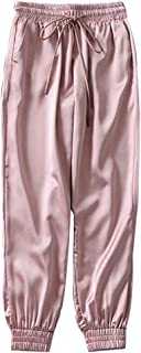 Loose Pants Sweatpants Drawstring Pants Trousers Capris Satin Casual for Women