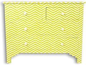 Mustard Yellow Chevron Bone Inlay Chest of Drawers