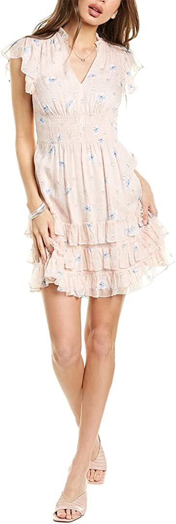 Rebecca Taylor Womens Dress Large A-Line Metallic Floral Pink L
