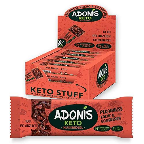 Adonis Keto Riegel | Pekan Nuss Snack Bars | 100% Natürliche Snacks, Low Carb, Vegan, Glutenfrei, Low Sugar, Paleo Bar - 16er Box