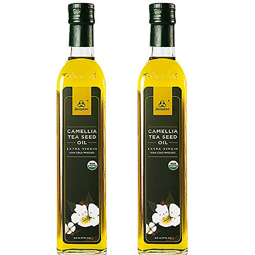 Sunplan Organic Camellia Oil, All Natural Camellia Tea Seed Oil, Extra Virgin Cold Pressed Cooking Oil (17 oz in 2 Pack)