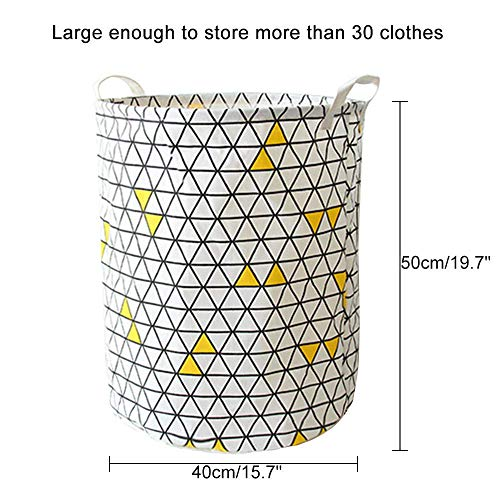SEESEE.U Laundry Baskets Collapsible,Yellow Triangle Folding Collapsible Large Capacity Bin Bucket Laundry Hamper Canvas Dirty Clothes Organizer With Handle Bin