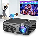 Wireless Bluetooth WiFi LED Projector,Outdoor LCD Android HDMI Cinema Theater Proyector Gaming Digital Video Projector Support 1080p Miracast Zoom for Laptop PS4 USB Tablet DVD Player Christmas