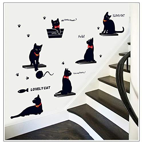TYLOLMZ Bricolage chat noir autocollant mural enfants chambre maison étage escaliers décoration amovible Mural Art Stickers décoratifs Kitty autocollants