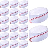 WILLBOND 20 Pack 3.2 Inch Disposable Paper Chef Hat Set Adjustable Kitchen Cooking Chef Cap for Food Restaurants, Home Kitchen, School, Classes, Catering Equipment or Birthday Party Red and White